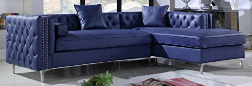 Iconic Home Da Vinci Right Hand Facing Sectional Sofa L Shape Chaise PU Leather Button Tufted with Silver Nailhead Trim Silvertone Metal Leg with 3 Accent Pillows, Modern Contemporary, Navy - Nailhead Trim Leather Sofa