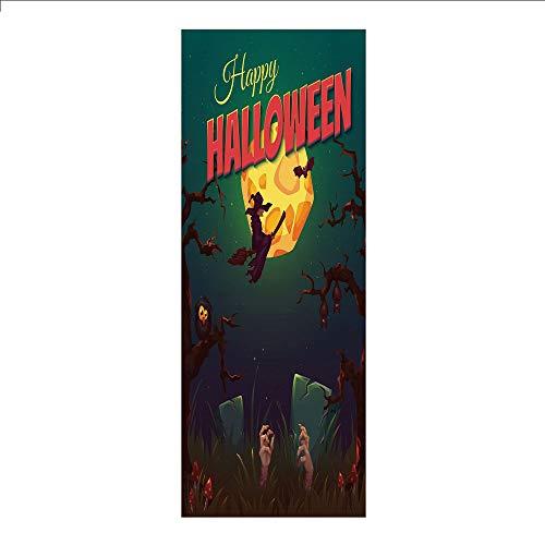 3D Decorative Film Privacy Window Film No Glue,Halloween,Happy Halloween Poster Design Witch on Broom Mushroom Dead Resurgence Vintage Decorative,Multicolor,for Home&Office -