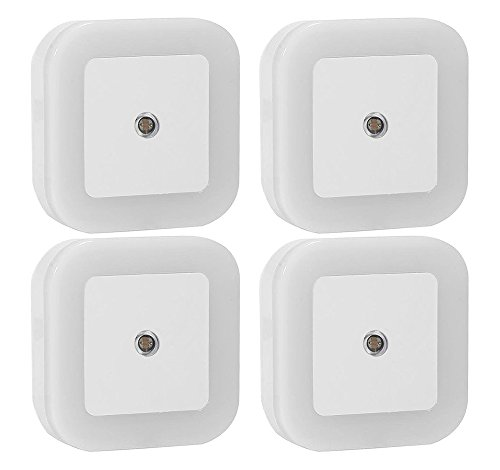 Sycees 0.5W Plug-in LED Night Light Lamp with Dusk to Dawn Sensor, Daylight White, 4-Pack