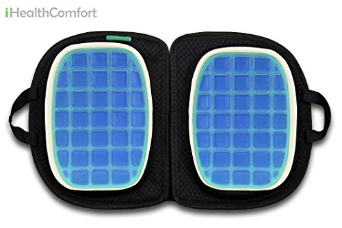 iHealthComfort 3 in 1 Folding Cooling Gel Memory Foam Seat Cushion & Lumbar Support Large Orthopedic Tailbone Pillow Instant Relief from Lower Back Pain