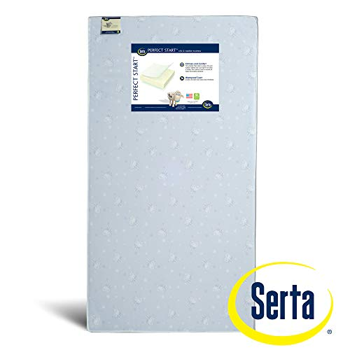 Serta Perfect Start Fiber Core Crib and Toddler Mattress | Waterproof | GREENGUARD Gold Certified (Natural/Non-Toxic)