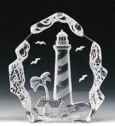 VG Engraved Lead Crystal - Lighthouse (Tree)