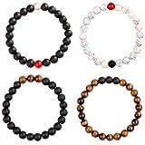BLINKSTARE Tiger Eye Beads Couples Bracelet-4 Pcs Elastic Natural Meditation Yoga Agate Stone Bracelet Set for Men Women