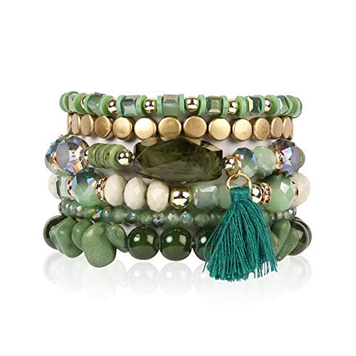 RIAH FASHION Bead Multi Layer Versatile Statement Bracelets - Stackable Beaded Strand Stretch Bangles Sparkly Crystal, Tassel Charm (Coin Bead/Tassel - Green)