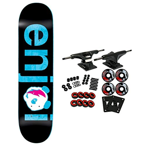 (Enjoi Skateboard Complete No Brainer Black/Blue 8.0