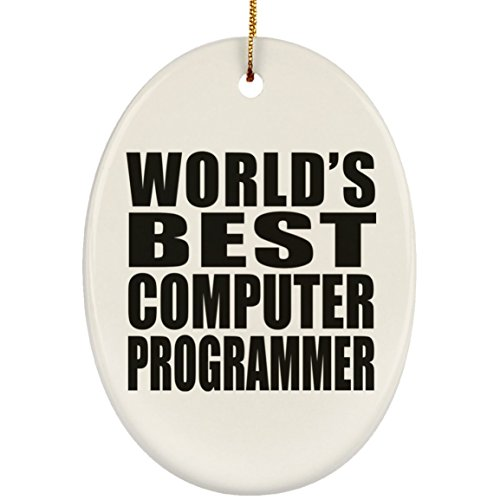 (Designsify World's Best Computer Programmer - Ceramic Oval Ornament, Christmas Tree Decor, Best Gift for Birthday, Anniversary, Easter, Valentine's Mother's Father's Day)