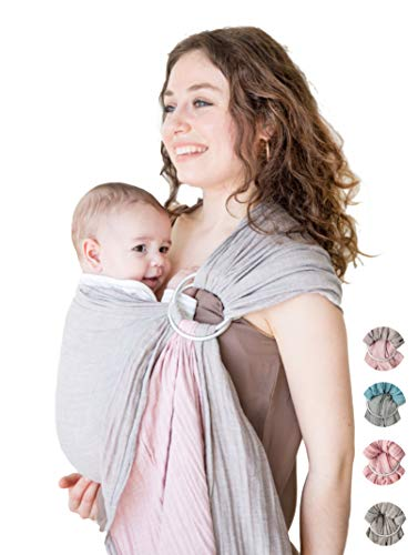 Baby Wrap Carrier Ring SlingLuxury Extra Soft Turkish Cotton Muslin Grey Rosefor Newborns Infants and ToddlersPerfect Baby Shower Gift