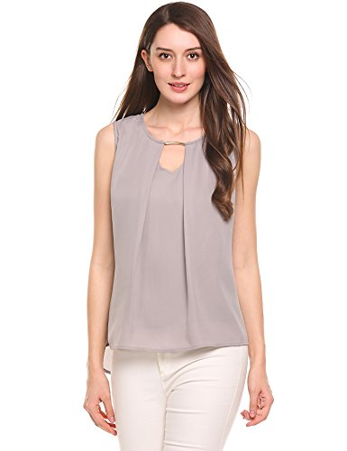 Dickin Women Casual V-Neck Sleeveless Hollow Out False Two Pieces Chiffon Blouse