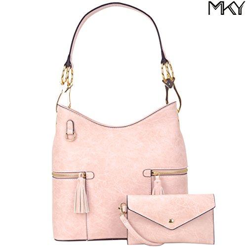 Classic Large Hobo Shoulder Bag Women Tote Purse Ladies Handbag PU Leather Big Snap Hook Pink (Tote Classic Pink)