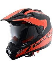 Astone Helmets -CROSS TOURER GRAPHIC ADVENTURE - Casque de motocross homologué en polycarbonate - Casque intégral polyvalent, 3 en 1 enduro route et trail - Matt black/red