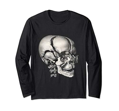 (Vintage Human Anatomy Skeleton Skull and Head Bones Long Sleeve T-Shirt)