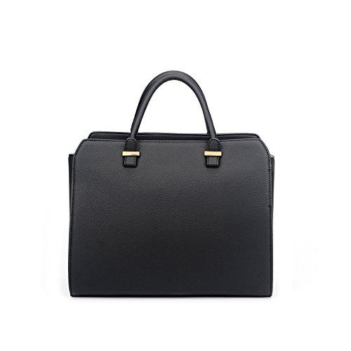 Classic Black Leather Handbag - 8