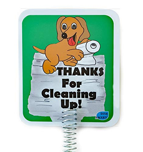 IMPROVED - Dog Poop Sign for Yard, Dog Poop Signs are TWO sides & METAL STAKE, made with Stronger Materials | Tell neighbors THANKS FOR CLEANING UP | Keeps Dogs ()