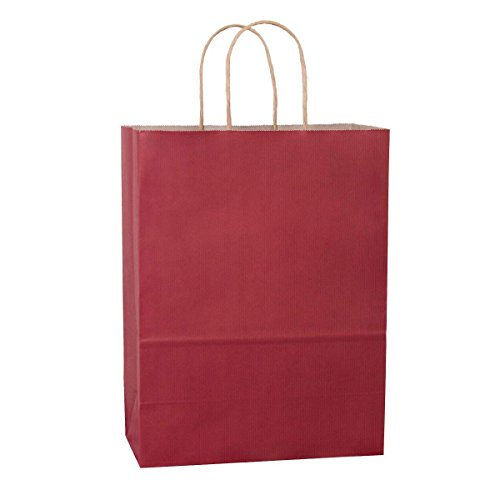 BagDream 10''x5''x13'', Debbie, 25Pcs Red Stripes Kraft Paper Bags, Shopping, Mechandise, Retail, Party, Gift Bags, 100% Recycled FSC Compliant by BagDream