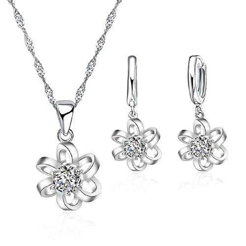 - Maylena Belle 925 Sterling Silver Cubic Zirconia Flower Pendant Necklace and Earrings Set