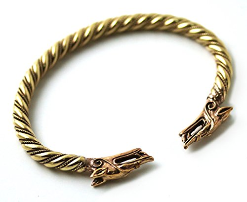 [Bronze Norse Viking Mjolnir Wolf Head Twisted Cable Bangle Cuff Bracelet Arm Ring Pagan Jewelry (8] (Dragon Warrior King Adult Mens Costumes)