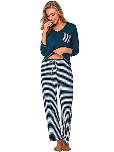 (DAIKEN Womens Pajama Set Striped 3/4 Sleeve Top & Pants Sleepwear Pjs Sets)