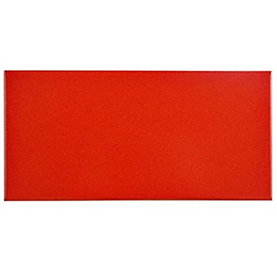 "SomerTile FRC8PRVM Memoire Ceramic Floor and Wall Tile, 3.875"" x 7.75"", Red"