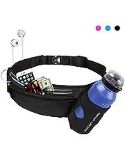 Guzack Marsupio Running,Chuangmeida Sportivo Cintura da Corsa con Porta Bottiglia Fitness Impermeabile per Ciclismo, Viaggi, Escursioni e Allenamento Marsupio Sacchetto per iPhone Samsung Smartphone