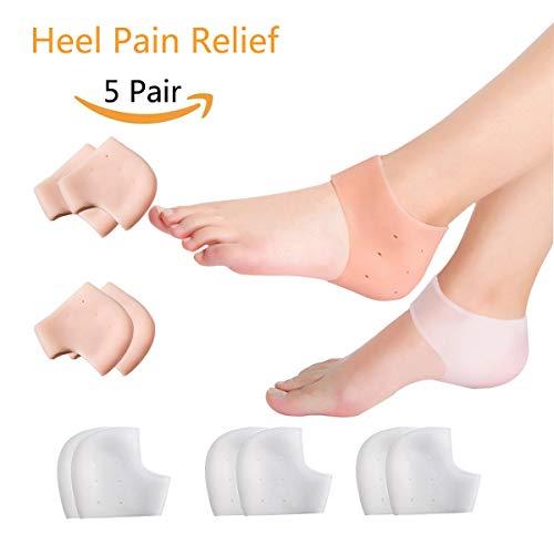 5 Pairs Gel Heel Sleeves, Breathable Silicone Heel Socks Protectors to Repair Dry Cracked Heel and Reduce Pains of Plantar Fasciitis, Achilles Tendonitis Tendon, Heel - Gel Sleeve Heel