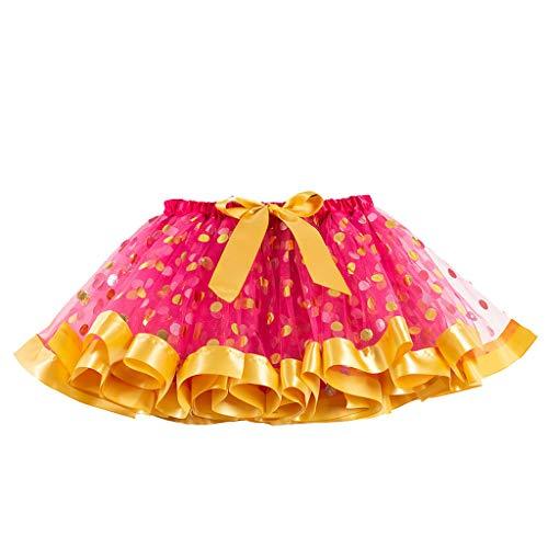 TEVEQ Girls Kids Tutu Skirts Party Dance Ballet Toddler Baby Costume Skirts+Headband Set]()