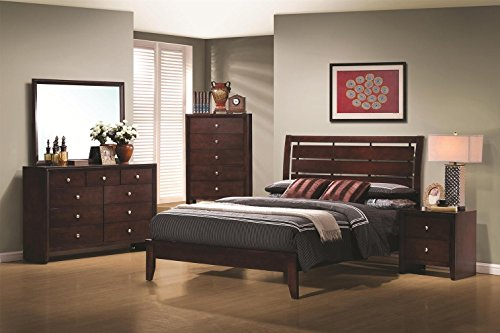 Mirror Merlot Dresser Finish (Serenity Collection 201971F5P 5 PC Bedroom Set with Full Platform Bed + Chest + Dresser + Mirror + Nightstand in Rich Merlot Finish)