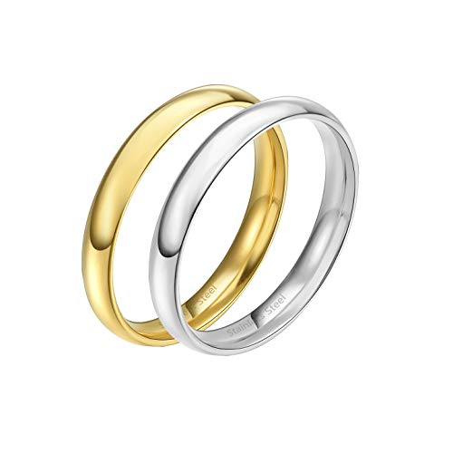 Lavencious Comfort Fit Stainless Steel Gold & Silver Wedding Band Set, 3mm (2 Tone, - Two Gold Wedding Tone Band Sets