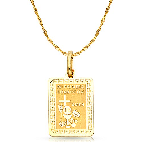 14K Yellow Gold Communion Charm Pendant with 1.8mm Singapore Chain Necklace - 24