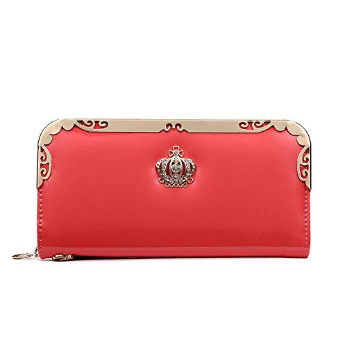 iLory Damen PU-Leder Geldbörse Kreditkartenetui Wallet Reißverschluss langen Geldbeutel Multi-Tasche Unterarmtasche (Rose Red) Rote QRvmpCPQ