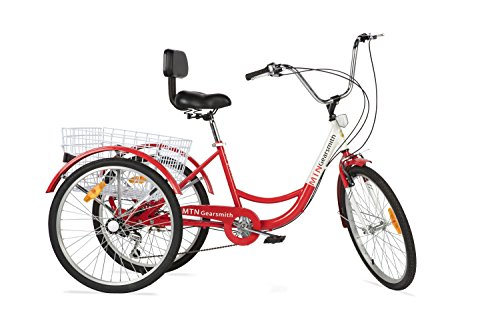 Komodo Cycling 24', 6-speed Adult Tricycle #7002 - Rouge (85% Preassembled + 1 Year Warranty)