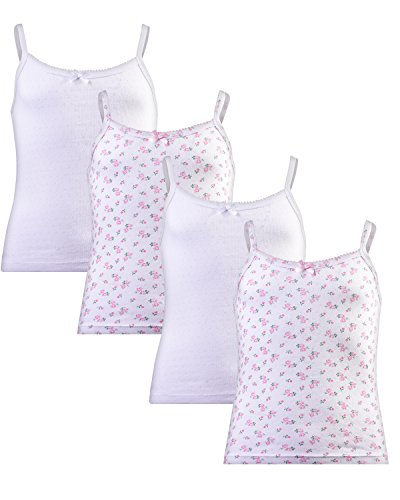 Rene Rofe Bow - Rene Rofe Girl (4 Pack Super Soft Pointelle Camisole Tank Top, White/Pink Picot, Large/10-12'