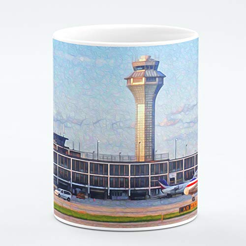 Chicago Fine Art Mug. O'Hare Airport Control Tower and American Airlines Plane. Unique Limited Edition Painting Print. Ideal Souvenir or Gift For Any Chicago Lover, Men Women, Boys Girls. 11 ounces.