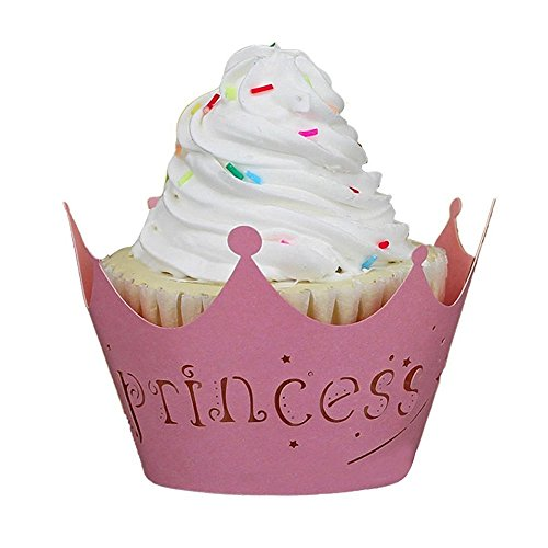 Fashionclubs Princess Crown Vine Lace Cupcake Wrappers Wraps Liners Muffin Paper Holders For Christmas And Wedding Decor Pack of 12