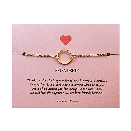 Bracelet Friendship Circle Of (Your Always Charm Open Circle Link Bracelet,Endless Friendship Bracelet with Gift Card (Gold))