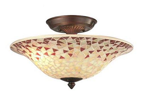 Antique Mosaic - Mosaic 2-Light Antique Copper Semi-Flush Mount