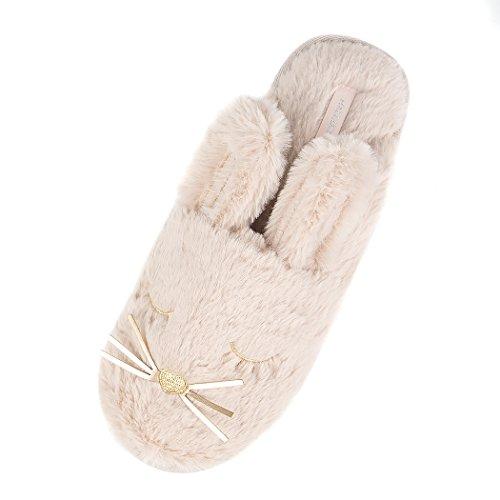Halluci Womens Cozy Fleece Memory Foam House Dolcetto O Scherzetto Halloween Pantofole Grande Orecchio Coniglietto Marrone