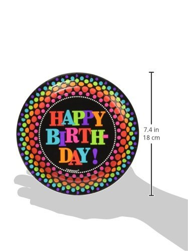 Amscan Happy Birthday Rainbow Polka Dotted Round Dessert Plates, Black /Multicolored, 7'' by Amscan
