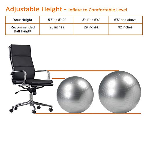 CalCore Exercise Ball Chair From Professional Strength Antiburst Ball with Hand Pump for Office, Yoga, Stability and Fitness by CalCore (Image #2)