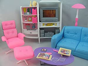 barbie size dollhouse furniture family room tv couch ottoman by gloria amazoncom barbie size dollhouse