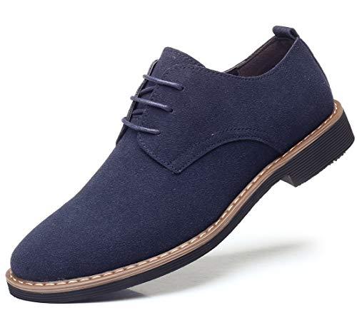 DADAWEN Men's Suede Dress Shoes Casual Lace Up Oxfords Shoes