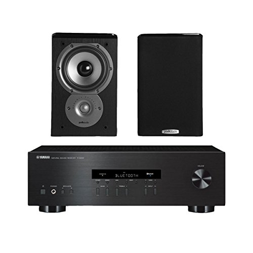 Yamaha R-S202 Stereo Receiver with Bluetooth and Polk TSi100 2-Way Bookshelf Speakers with 5-1/4' Driver - Pair (Black)