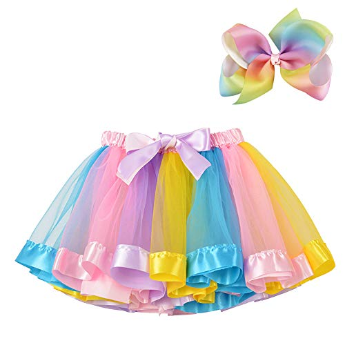 BGFKS Layered Ballet Tulle Rainbow Tutu Skirt for Little Girls Dress Up with Colorful Hair Bows (Light Rainbow, M,2-4 (Rainbow Baby Infant Costumes)
