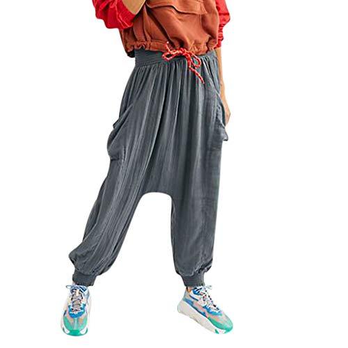 Women's Harem Pants Smocked Waist Aladdin Spandex Harem Yoga Pilates Pants Wide Leg High Waist Casual Pants Gray ()