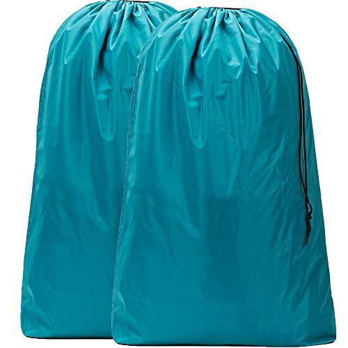 HOMEST 2 Pack Nylon Laundry Bag, 28 x 40 Inches Travel Drawstring Bag, Rip-Stop Large Hamper Liner, Machine Washable, Lake Blue