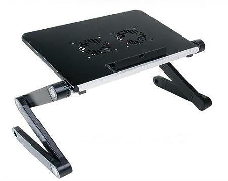 Soporte portátil y ajustable de aluminio para portátiles, Notebooks y Macbooks con ventiladores para CPU, de peso ultraligero, ergonómico, bandeja para la cama, posición parado o sentado: Amazon.es: Hogar