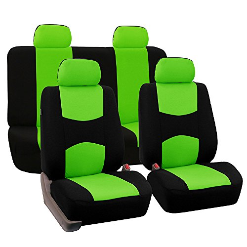 Fh Group Fb050green114 Universal Fit Full Set Flat Cloth Fabric Car Seat Cover   Green Black   Fh Fb050114  Fit Most Car  Truck  Suv  Or Van