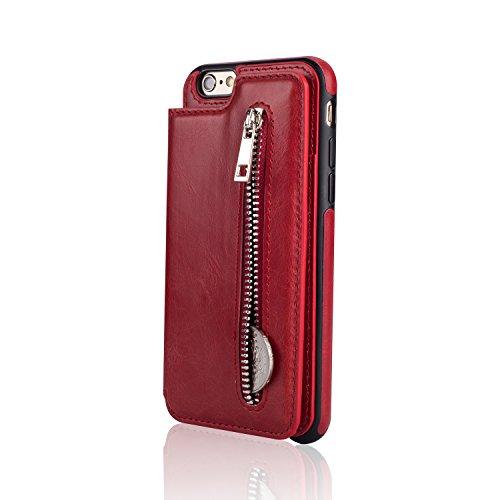 Für iPhone 6 Plus/6S Plus Hülle, Aearl Retro Multifunktional Reißverschluss Wallet Schutzhülle Handy Geldbeutel Kartenetui TPU Bumper PU Leder Kartenhalter Flip Ständer Handyhülle mit Displayfolie für rot