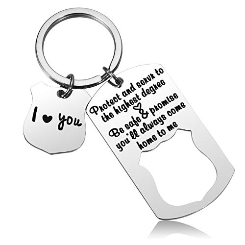 JZSTA Police Officer Keychain Gifts - Police Academy Graduation Gift, Cop Gift from Wife, Protect and Serve, Be Safe Come Home to Me