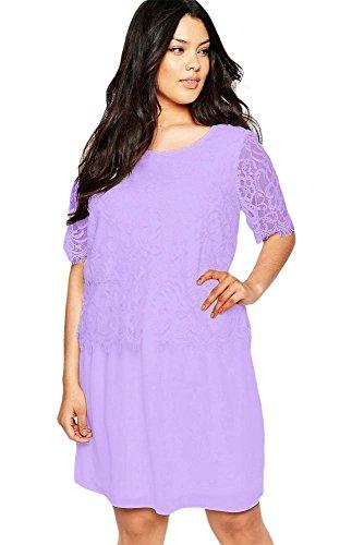 NEW Femme de taille plus robe Swing à manches lilas cils Casual Soirée porter Plus Taille XXL UK 14–16