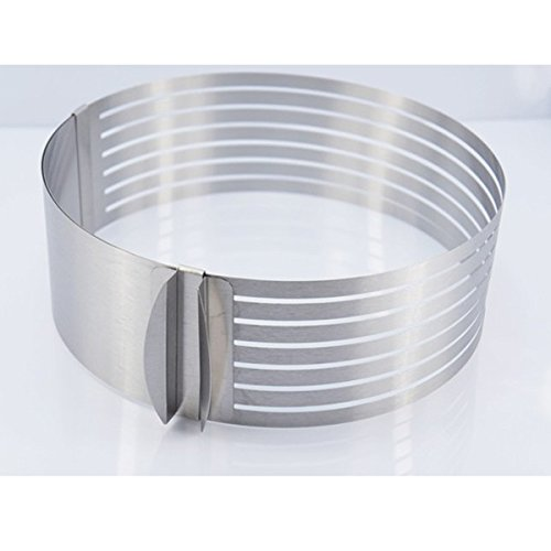 Mousse ring, SENREAL 9-12Inch Stainless Steel Circle Mousse Ring Size Adjustable Cake Mould